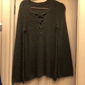Sweaters - AE dark grey lace up sweater with bell sleeves